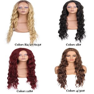 26inches Deep Wave Synthetic Wigs Lace Frontal Fashion Wig 260g Different Colors Heat Resistant Fiber Density 150%