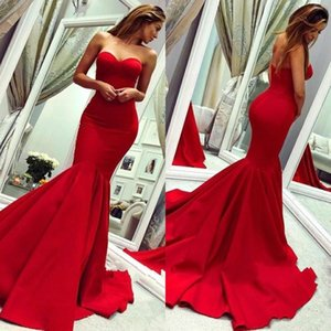Red Elegant Mermaid Evening Dresses Sweep Train Long Prom Party Dresses Backless Cheap Formal Wear on Sale