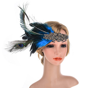 Wholesale Peacock Feather Silver Rhinestone Flapper Headband Indian Beaded Floral Hair Bands Vintage Hair Accessories for Christmas