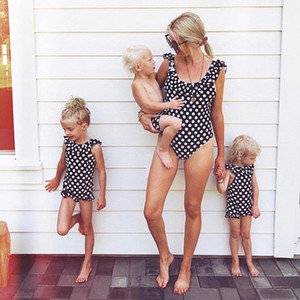 Wholesale polka dot clothing for kids resale online - Vieeoease Girls Swimwear One pieces Swim Kids Clothing Summer Fashion Polka dot Ruffles Princess Swimwear for Mommy and Me CC
