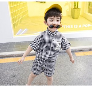 Wholesale Boy Summer Fashion Clothing Sets Child Hot Sale Plaid Printed Appliques Clothing Boys Casual Shirts Shorts Two Piece Sets child chothes