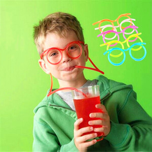 Wholesale Creative Fun Child Glasses Straw Soft Plastic Straw Glasses Flexible Drinking Straws Tube Tool Kid Party Supplies Bar Accessories DBC VT1694