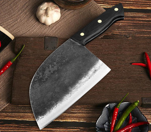 Wholesale butcher knives resale online - High Carbon Steel Handmade Forged Chef Knife Full of Chinese Kitchen Knife Slaughter Cleaver Butcher Full Tang Vegetable Chopping Knife