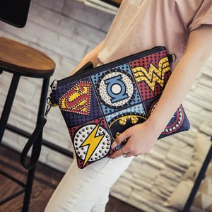 Wholesale Unisex Marvel Clutch Fashion Retro Pu Leather Supercool Superhero Avengers Rivet Gothic Punk Handy Wrist Clutch Bag