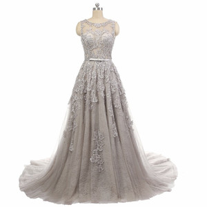 2018 Elegant Grey Lace Evening Dresses Sheer Neck A Line Formal Prom Party Gowns Custom Made Beads Sequins Women Formal Gowns on Sale