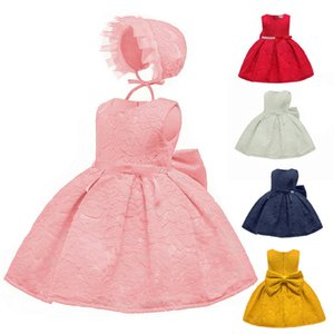 Wholesale Children s Dress Korean Princess Dress Lace Style Bow knot Sleeveless Baby Dress100 Kids Clothing Cotton Solid Color Lovely