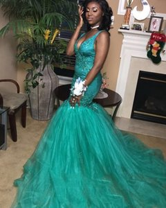 Wholesale Green Mermaid Prom Dresses 2019 Plunging V Neck Lace Appliques Tulle Sweep Train Evening Gowns Black Girls Prom Dresses DP0390