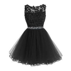 Wholesale Sweet Short Prom Dresses Lace Appliques with Crystal Beads Puffy Tulle Cocktail Party Dresses Little Black Graduation Homecoming Gowns
