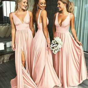 Wholesale blush maternity bridesmaid dresses for sale - Group buy cheap blush pink country bridesmaid dresses deep v two straps junior maid of honor dress simple backless long slits plus size prom gown