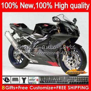Body For Aprilia RSV1000R Mille RV60 RSV1000 R RR 03 04 05 06 62HC.0 RSV1000RR RSV 1000 R 1000R 2003 2004 2005 2006 Fairings Glossy black