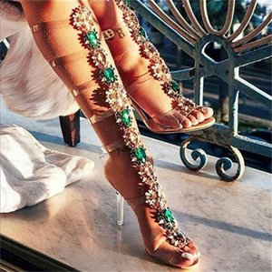 Summer Bling Woman Sandals Rhinestone Lady Knee High Sandal Boots Thin High Heels Stiletto Crystal Dress Shoes Sandalias Bohemia Style