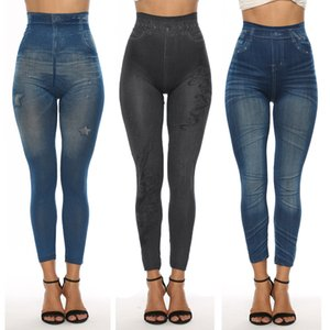 Wholesale 2019 Women New Fashion Classic Stretchy Slim Leggings Sexy imitation Jean Skinny Jeggings Skinny Pants big size bottoms LE399