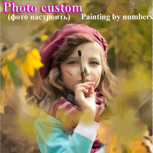 Wholesale Photo Customized DIY Painting By Numbers Personality Your Own Portrait paint by numbers Wedding Family Photos For Unique Gift