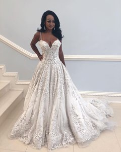 Wholesale Ivory A Line Spaghetti Straps Prom Dresses Luxury Beaded Embroidery Sweep Train Organza Formal Evening Party Gown Custom Made Plus Size