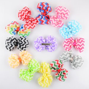 Baby Wave Hair Clip Wave Stripe Chiffon Bow Clips Barrettes Kids Striped Hairpins Girls Ties Clothing Jewelry Hair Accessories GGA2106