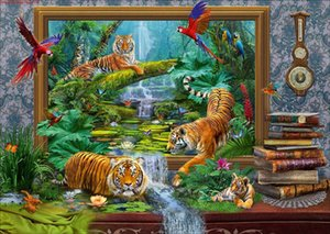Wholesale tiger paintings resale online - Home Decor DIY D Diamond Painting Cross Stitch Tiger Parrot Mosaic Diamond Embroidery Sewing Pattern Rhinestone Gifts
