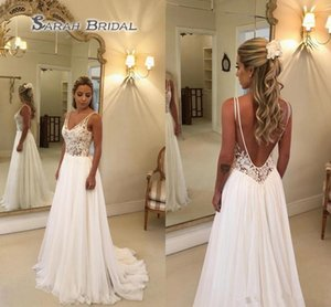 2019 Cheap Beach Wedding Dresses Lace Appliqued V Neck A Line Sexy Backless Boho Wedding Dress Sweep Train Custom Garden Bridal Gowns on Sale