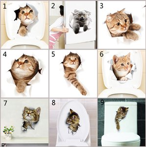 Wholesale 3D Wall Sticker Cats Dogs Sticker for Kitchen Toilet Refrigerator Animal Decals Bathroom toilet Living Room Home Decoration B