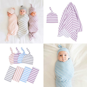 Wholesale toddler beds for sale - Group buy Newborn baby cotton striped blanket Toddler Sleepsacks Wrapped Towels infant holding blanket knotted tire cap baby Nursery Bedding M095