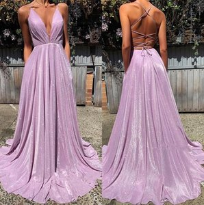 Wholesale Elegant Halter Sequins A Line Long Prom Dresses Ruched Criss Cross Sweep Train Formal Party Evening Gowns BC1727