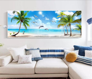 Wholesale chinese picture frames resale online - 3d room wallpaper custom photo non woven mural Hawaiian Seascape Coco Beach Dolphin Bay Picture Frame Wall wallpaper for walls d