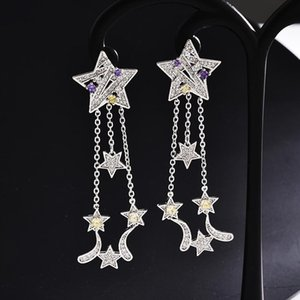Wholesale Long Star Tassel Earrings New Fashion Wedding Jewelry Cubic Zirconia Silver Earring Women Brand Designer Jewellery