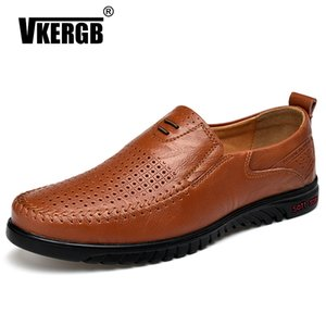 Wholesale New Openwork Men Black Loafer perforated Shoes Genuine Leather flats driving shoes business men s casual best quaitty