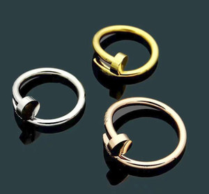 Wholesale Fashion Lady L Titanium steel Single Circles Wrap Color Pegs Diamond Wedding Engagement K Gold Plated Rings Size6