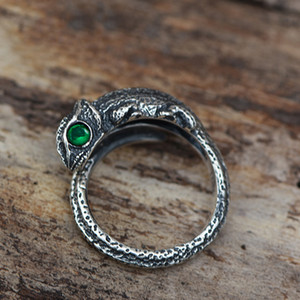 Wholesale BEIER Adjustable lizard Green eye animail Ring Vintage stainless steel Whale fashionRings for man Jewelry