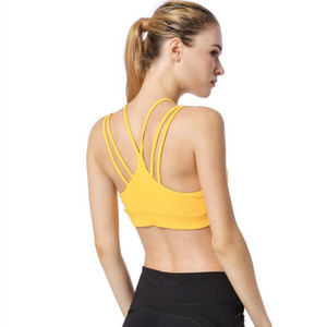 Red High Support Strappy Sports Bra For Women Yellow Shockproof Yoga Fitness Running Bras Wireless Tight Stretch Sport Top