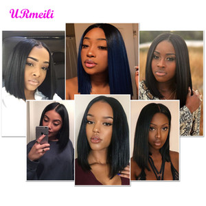 Wholesale chinese bangs bob hairstyles resale online - short wig human hair Bob Lace Front Human Hair Wigs With Bang Brazilian Remy Hair Lace Front Bob Wigs Pre Plucked For Woman