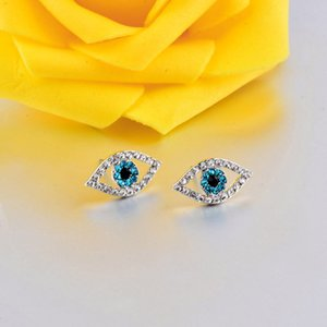 Wholesale Turkey Gold Silver Color Blue Evil Eye Crystal Stud Earring For Women Fashion Luck Jewelry Christmas Gifts ES788 SSH