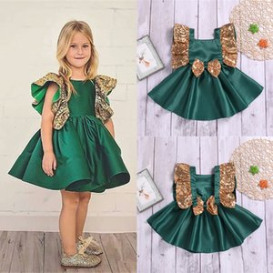 Wholesale Summer girl kids clothes temperament sleeveless bow flower army green dresses princess casual skirt kids designer clothes girls JY383 U