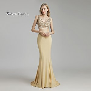 Wholesale Luxury Crystal Mermaid Champagne Beading Two Pieces Prom Party Dress 2019 Sexy Elegant Beading Vestidos De Festa Evening Occasion Gown LX489