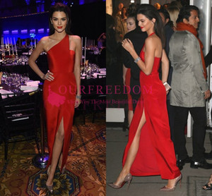 Wholesale Kendall Jenner Elegant Celebrity Dresses 2019 Sheath One Shoulder Ankle Length Formal Evening Dresses Gowns Side Cut Out Custom Prom Dress