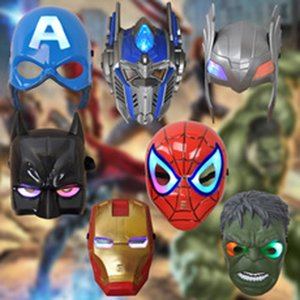 Wholesale LED Glow Mask Children Animation Cartoon Spiderman Light Up Mask Masquerade Full Face Masks Halloween Party Decoration Kid Toy DBC VT1001