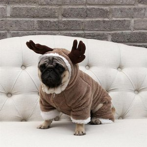 Wholesale Winter Thicken Pets Cute Coats Fashion Deer Horn Ornament Pet Jackets Christmas Day Lovely Bulldog Teddy Luxury Apparel