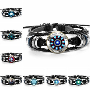Wholesale Iron Man Reactor Leather Bracelet Tony Stark Heart Poly Energy Time Gemstone Multi Layer Beading Woven Bracelet US Team Shield Mens Jewelry