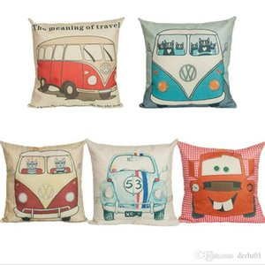 Wholesale 45 cm Touring HAPPY CAMPERS printed Car pillow case cartoon Bus Sofa Throw Cushion Cover Pillow Case Home Decor Pillow cover