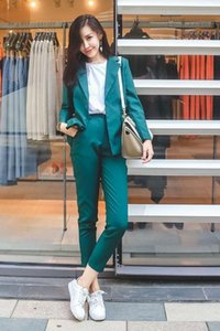 Wholesale 2018 Pure Color Simple Boyfriend Jacket Small Cuff Pants Dark Green Office Lady Karxige Official Store Seven Length Pant Suit
