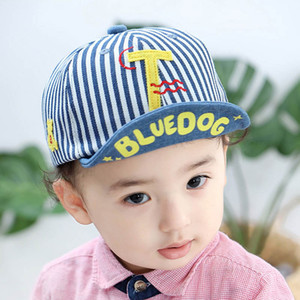 Wholesale 2019 new Baby Hat Baby Boy Hats stripe letter boys Baseball Hat Toddler Sun Hat Infant Boys Caps peaked cap Baseball caps A4155