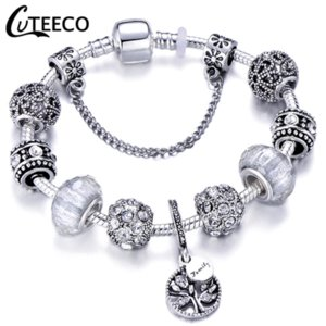 CUTEECO 925 Fashion Silver Charms Bracelet Bangle For Women Crystal Flower Beads Fit Pandora Bracelets Jewelry