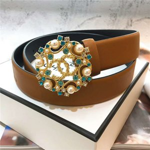 Wholesale Free Delivery Brand New Design Female Cowskin Belt Luxury Pearl Button High Quality Brand cm Wide Female Belt with Original Box