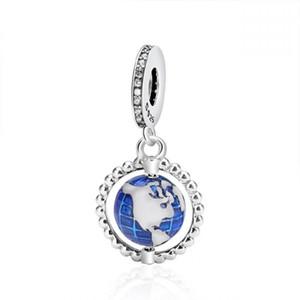 New 100% Original 925 Sterling Silver Beads Blue Enamel Globe Dangle Charm Fit European Women Gift Charm Bracelet & Necklace Diy Jewelry