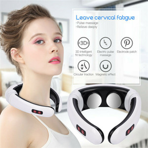 dores cervicais venda por atacado-Pulso elétrico Back and Neck Massager infravermelho distante Aquecimento dor Health Care Relief Relaxamento ferramenta inteligente Cervical Massager