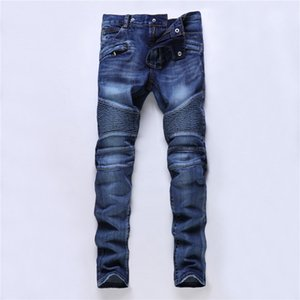 Wholesale 2019 Men s Holes Ripped Pleated Jeans Fashion Multi Pocket Fake Zipper Patchwork Skinny Slim Distressed Trendy Blue Denim Pants