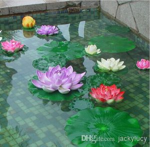 Wholesale 10 cm Garden Home Decor Artificial Flower Lotus Leaf EVA Material Fish Tank Water Pool Decorations Green Plant Craft Ornament