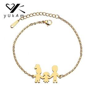 Wholesale YUKAM Minimalist Gold Stainless Steel Memorial Family Mom Dad Baby Bracelets for Women Father Daughter Mother Bracelets Jewelry