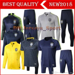 TOP Quality Brazil Soccer Jacket set 2018 World Cup tracksuit yellow PRE-MATCH Football jacket kit Coutinho Brazil Training suit