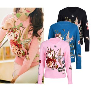Wholesale Fashion New Luxury Design Embroidery Sweaters Brand Flying Bird Print Women O Neck Long Sleeves Knits Sweaters Size S XL